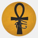 Ankh con el ojo de Horus Etiquetas Redondas