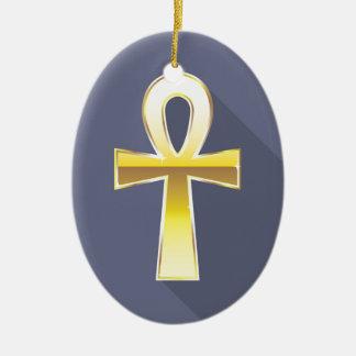 Ankh Egyptian Cross Golden Ceramic Ornament