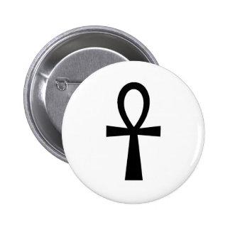 Ankh Egyptian Hieroglyphic Symbols Life Key Black Pinback Button