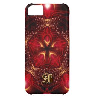Ankh Energy Red+Gold Custom Monogram Cover For iPhone 5C