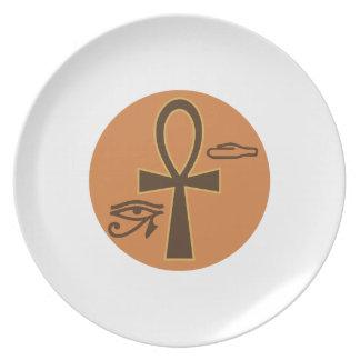 Ankh jeroglífico plato para fiesta