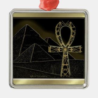 Ankh Pyramid Metal Ornament