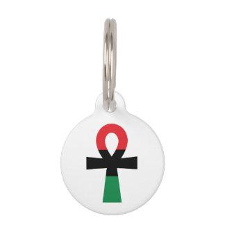 Ankh rojo, negro y verde identificador para mascotas