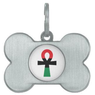 Ankh rojo, negro y verde placa de nombre de mascota