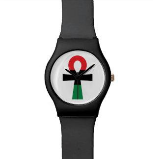 Ankh rojo, negro y verde reloj de mano