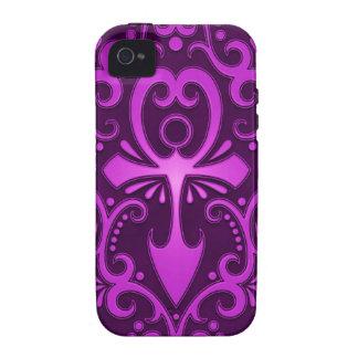 Ankh tribal púrpura Case-Mate iPhone 4 fundas