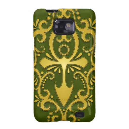 Ankh tribal verde de oro samsung galaxy s2 carcasa