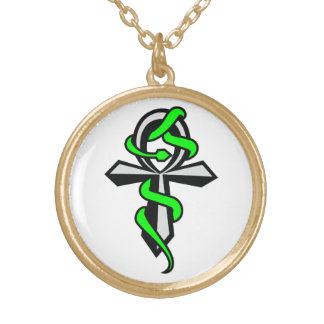 Ankh With Green Snake Necklace