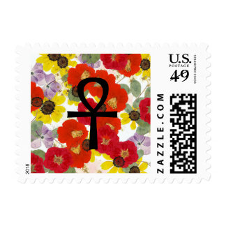 Ankh with Pressed Flower Background Stamp
