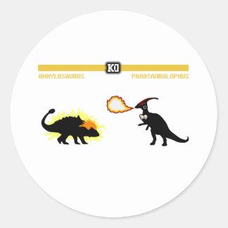 Ankylosaurus del combatiente del dinosaurio pegatina redonda