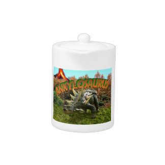 Ankylosaurus Dinosaur Park Vegetation and  Volcano Teapot