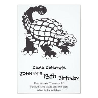 Ankylosaurus Dinosaur Prehistoric Black and White Card