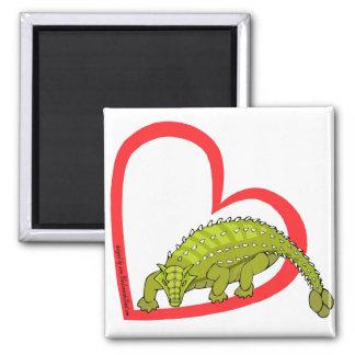 Ankylosaurus Heart 2 Inch Square Magnet