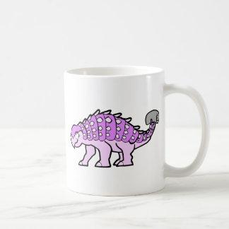 Ankylosaurus rosado del chica taza básica blanca