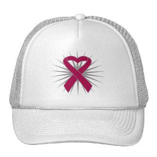 Ankylosing Spondylitis Awareness Heart Ribbon Trucker Hats