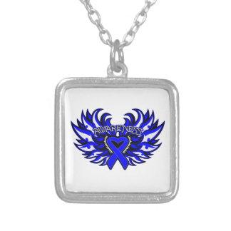 Ankylosing Spondylitis Awareness Heart Wings Square Pendant Necklace