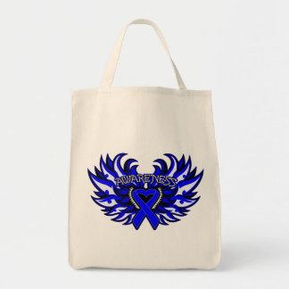 Ankylosing Spondylitis Awareness Heart Wings.png Grocery Tote Bag