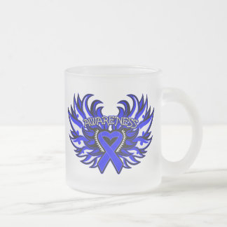 Ankylosing Spondylitis Awareness Heart Wings.png 10 Oz Frosted Glass Coffee Mug
