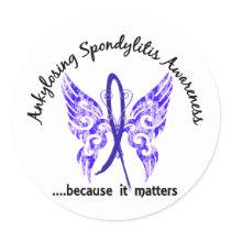 Ankylosing Spondylitis Butterfly 6.1 Classic Round Sticker