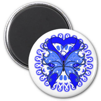 Ankylosing Spondylitis Butterfly Circle of Ribbons 2 Inch Round Magnet