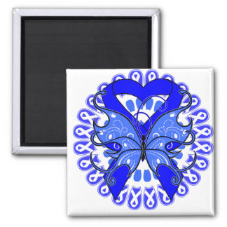 Ankylosing Spondylitis Butterfly Circle of Ribbons 2 Inch Square Magnet