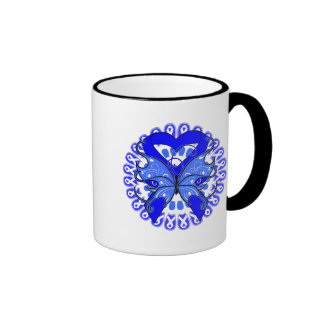 Ankylosing Spondylitis Butterfly Circle of Ribbons Mugs