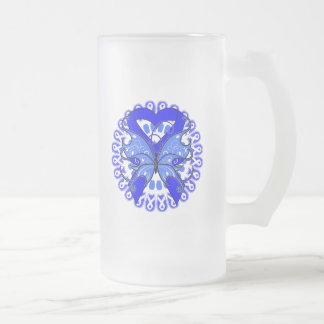 Ankylosing Spondylitis Butterfly Circle of Ribbons 16 Oz Frosted Glass Beer Mug