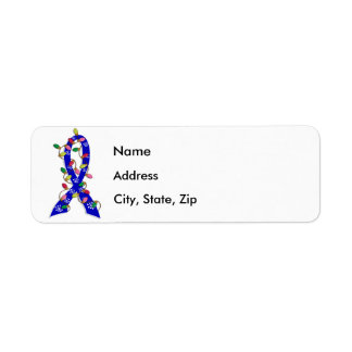 Ankylosing Spondylitis Christmas Lights Ribbon Custom Return Address Labels