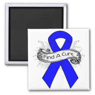 Ankylosing Spondylitis Find A Cure Ribbon 2 Inch Square Magnet