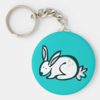 Anml009 RABBIT BUNNY CARTOON DOODLE PETS CUTE Basic Round Button Keychain
