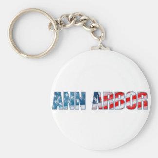 Ann Arbor Basic Round Button Keychain