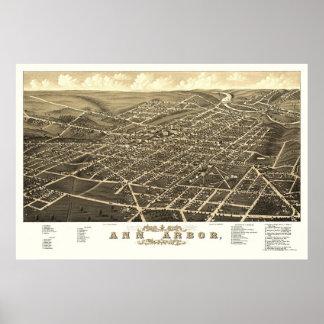 Ann Arbor, mapa panorámico del MI - 1880 Impresiones