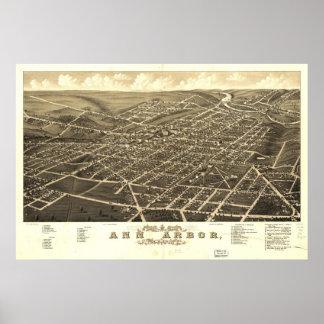 Ann Arbor Michigan 1880 Antique Panoramic Map Poster