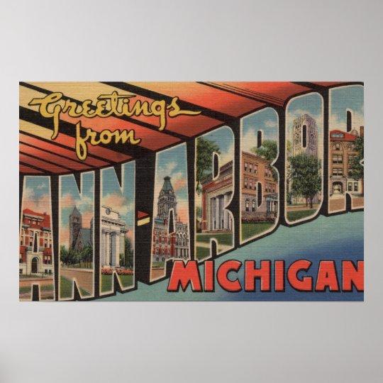 Ann Arbor, Michigan - Large Letter Scenes Poster