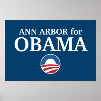 ANN ARBOR para el personalizado de Obama su ciudad Impresiones