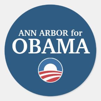 ANN ARBOR para el personalizado de Obama su ciudad Pegatina Redonda