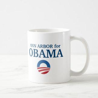 ANN ARBOR para el personalizado de Obama su ciudad Taza De Café