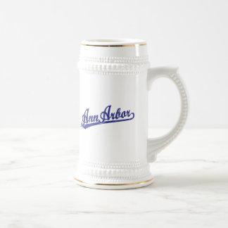 Ann Arbor script logo in blue Beer Stein