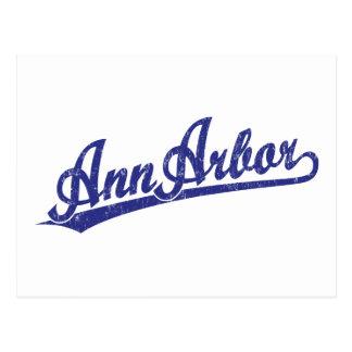 Ann Arbor script logo in blue Postcard
