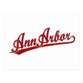 Ann Arbor script logo in red Postcard