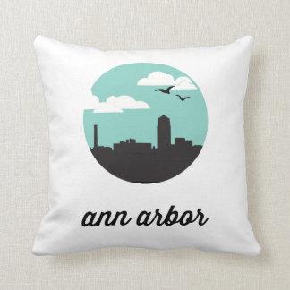 Ann Arbor Skyline | Ann Arbor Michigan Throw Pillow