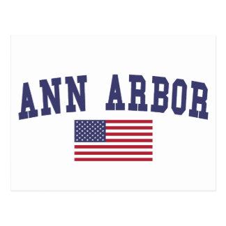 Ann Arbor US Flag Postcard