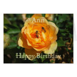 Ann Happy Birthday Yellow Rose With Honeybees Greeting Card