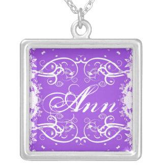 """""""Ann"""" on purple flourish swirls necklace"""