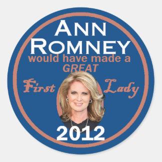 Ann Romney First Lady Classic Round Sticker