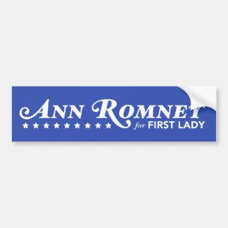 Ann Romney For First Lady Bumper Sticker (Blue)