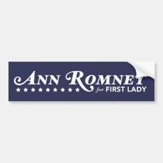 Ann Romney For First Lady Bumper Sticker Dark Blue