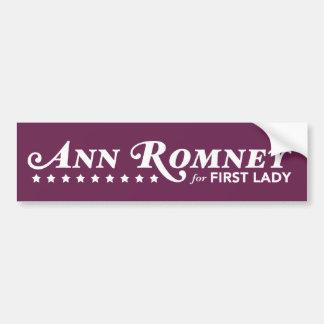 Ann Romney For First Lady Bumper Sticker (Purple)