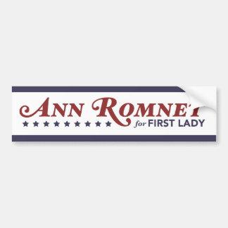 Ann Romney For First Lady Red, White, Dark Blue Car Bumper Sticker
