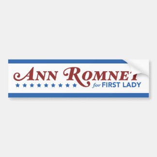 Ann Romney For First Lady Sticker Red, White, Blue